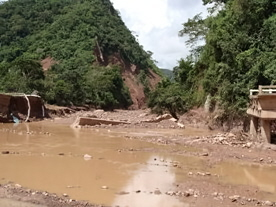 Bridge washed away by mudslide - near Tarapoto, Peru